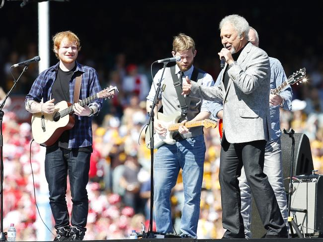 2014 AFL Grand Final entertainers Ed Sheeran and Tom Jones. Picture: David Caird.