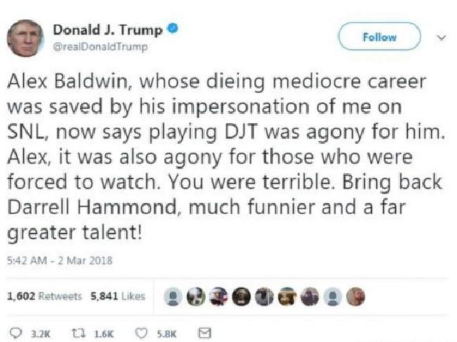 "Donald Trump. Not a fan of ""Alex"" Baldwin. Picture: Twitter"