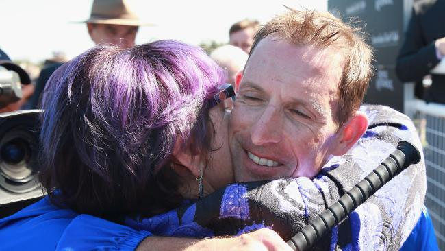 SYDNEY, AUSTRALIA — MARCH 03: Hugh Bowman hugs one of Winx's owners, Debbie Kepitis after winning race 6 on Winx in the Chipping Norton Stakes during Sydney Racing at Royal Randwick Racecourse on March 3, 2018 in Sydney, Australia. (Photo by Mark Evans/Getty Images)