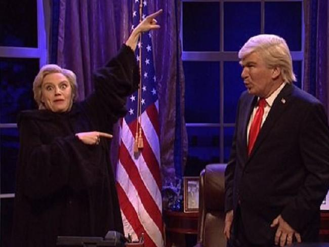 Alec Baldwin as Donald Trump and Kate McKinnon as Hillary Clinton on Saturday Night Live. Picture: YouTube