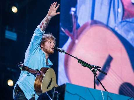 Ed Sheeran performs to a sold out AAMI Park in Melbourne. Pic: Stuart Walmsley