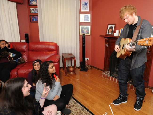 Ed Sheeran performs in the Oakleigh South house of fan Shiralee Dennis. Picture: Andrew Henshaw