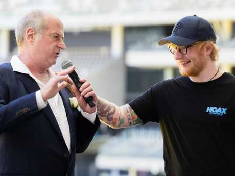 Bromance: Ed Sheeran and Michael Gudinski in Perth. Pic: AAP Image/Richard Wainwright