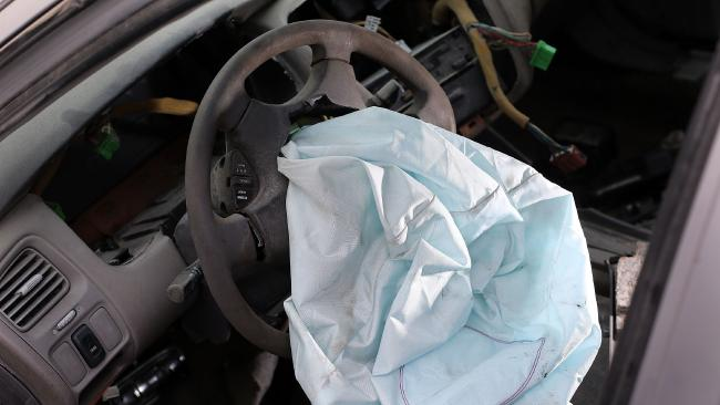 A deployed airbag is seen. Picture: Getty