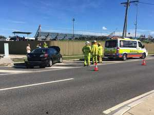 Two vehicle crash in near football grounds