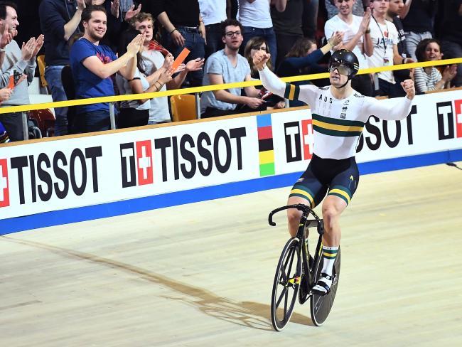 Australia's Matthew Glaetzer ccelebrates winning the men's sprint gold medal.