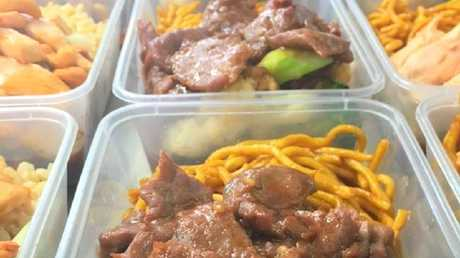 Beef with broccoli and noodles.