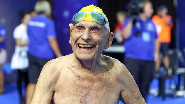 WINNER AND GRINNER: George Corones was all smiles before his attempt at breaking the 50-metres long-course freestyle world record in the 100-104 age group at the Gold Coast Aquatic Centre.