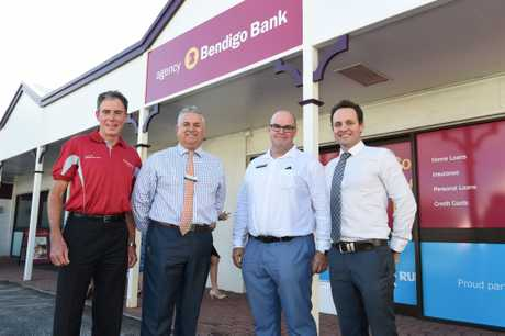 Opening of the Maryborough Bendigo Bank Agency - (L) Gerard O'Connell (Chairman Fraser Coast Community Enterprise), Gavin McNab (Reg. Community Mgr), Tim Evans (Branch Mgr Fraser Coast) and Travis George (Suthers George).