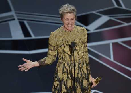 Frances McDormand accepts the award for best performance by an actress in a leading role for Three Billboards Outside Ebbing, Missouri at the Oscars on Sunday, March 4, 2018, at the Dolby Theatre in Los Angeles.