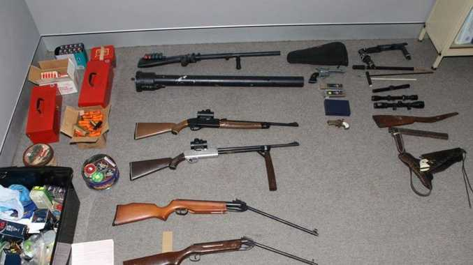 The guns police allegedly seized near Goombungee.