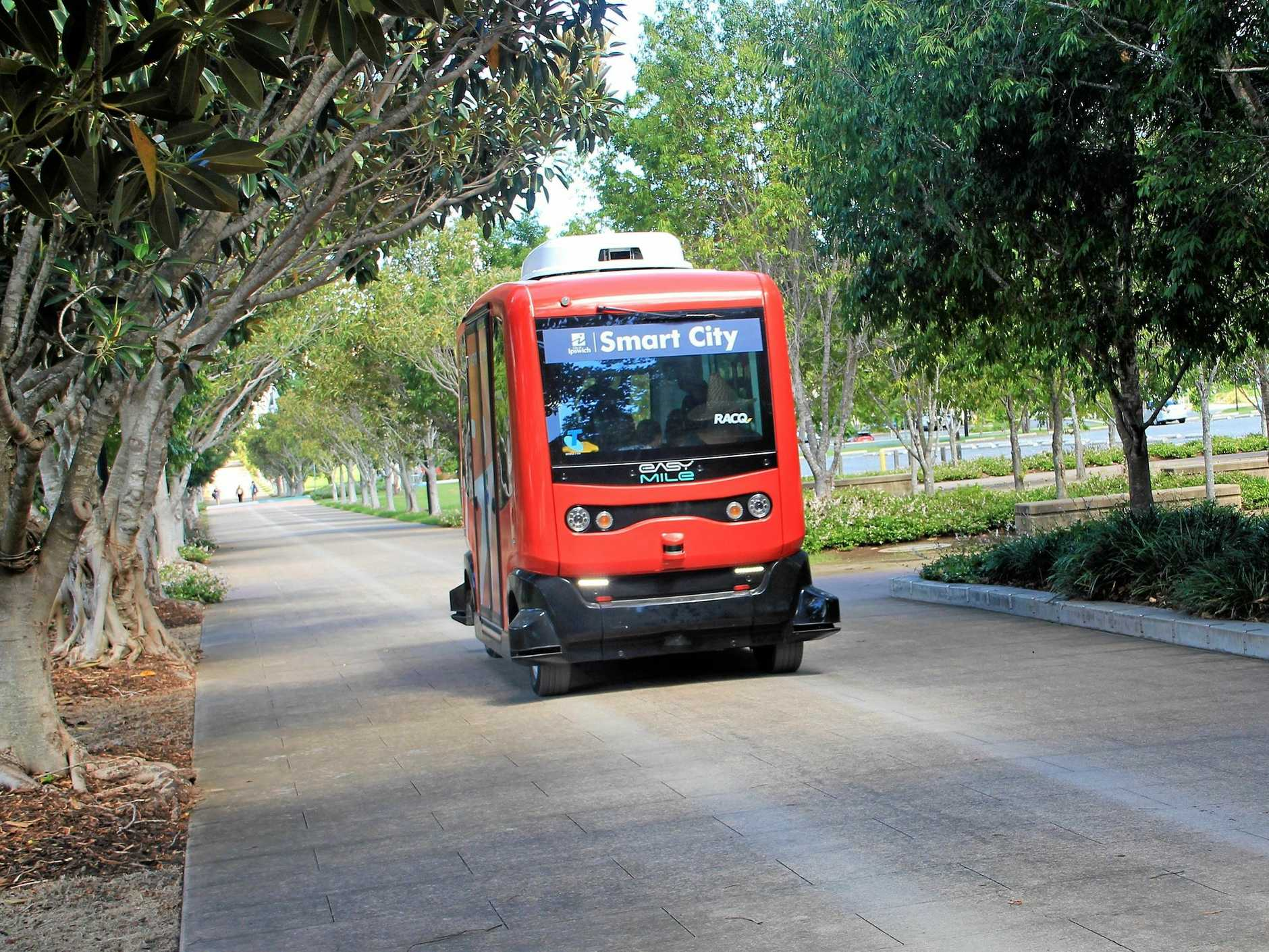 The electric self-driving shuttle EasyMile EZ10 operated between Springfield's Orion Lagoon along John Nugent Way to the University of Southern Queensland's Springfield campus from February 26 to March 3.