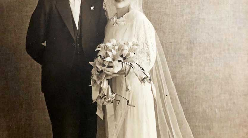 Rolly Stevens and Merrion 'Topsy' Stevens on their wedding day on January 12, 1937.