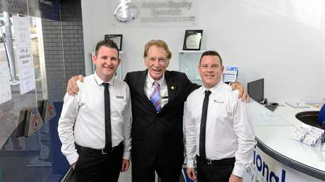 QUESTIONS: First National Action Realty Ipswich owner Glenn Ball (left) says interstate investors often asked if a home was close to light industry or commercial operations. He is pictured with Steven Baldwin and Garth Llewellyn (centre).