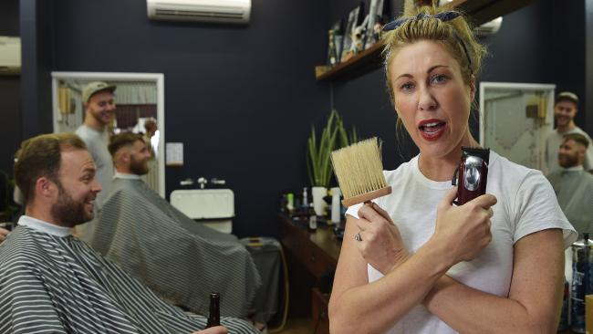 Joy Arnott owner of Star Barber has had a woman lodge an anti-discrimination complaint against her because she only cuts men's hair. Picture: Keri Megelus