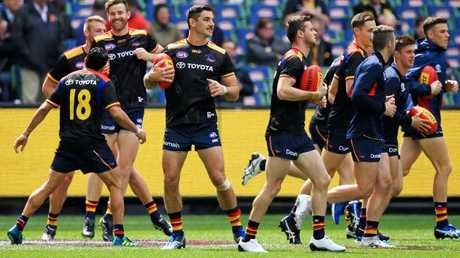 Adelaide players warm up before the 2017 Grand Final. Picture: Mark Stewart
