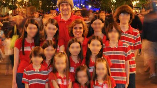 David and Louise Turpin photographed with their children during a rare trip to Disneyland. Picture: Supplied