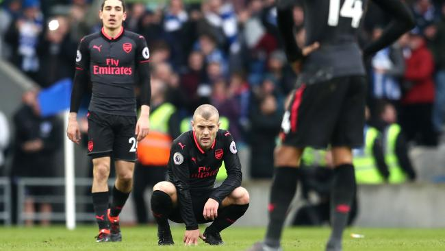 Jack Wilshere of Arsenal looks dejected following the Premier League match between Brighton and Hove Albion and Arsenal