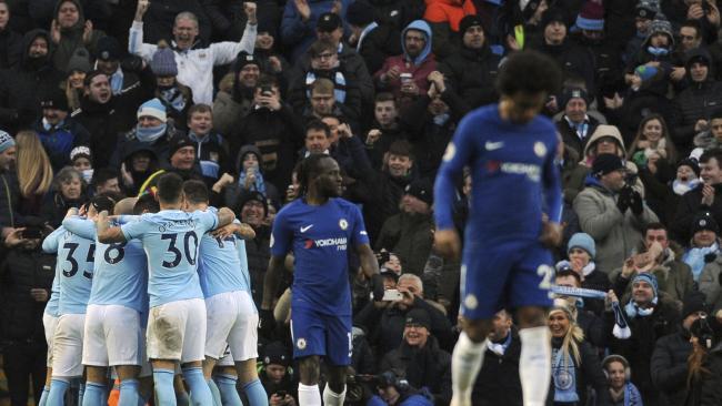 Manchester City's Bernardo Silva celebrates with his teammates