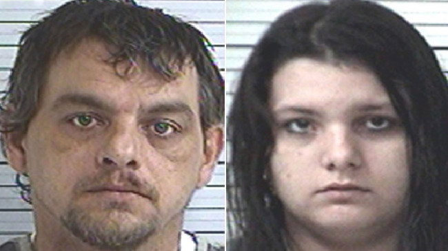 Father and daughter Justin Bunn, 39, and Taylor Bunn, 19, were arrested after they were caught having sex in their backyard. Picture: Panama City Police Department.