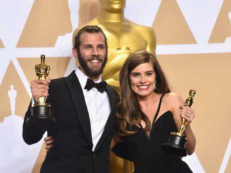 Filmmakers Chris Overton and Rachel Shenton, winners of the Live Action Short Film award. Picture: Getty