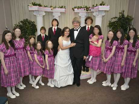 David and Louise Turpin with 12 of their 13 children at one of their many wedding vow renewal ceremonies. Picture: Supplied