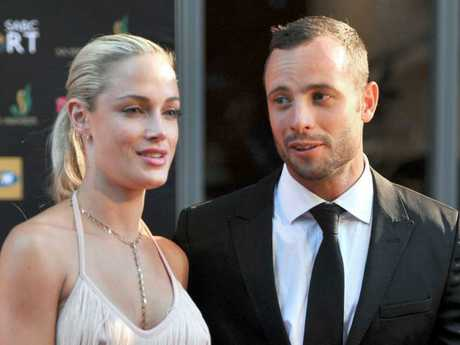 Oscar Pistorius with Reeva Steenkamp during the Feather Awards at Melrose Arch in Johannesburg in 2012. Picture: AFP