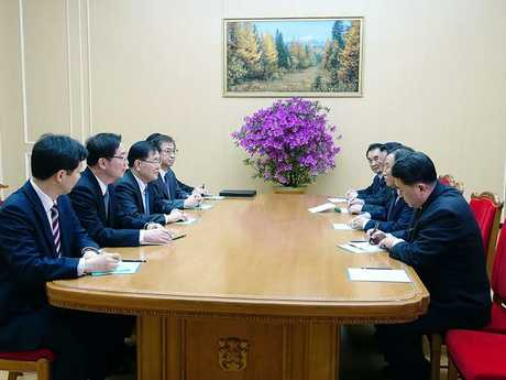 The South Korean and North Korean delegations meet in Pyongyang. Picture: AFP/The Blue House