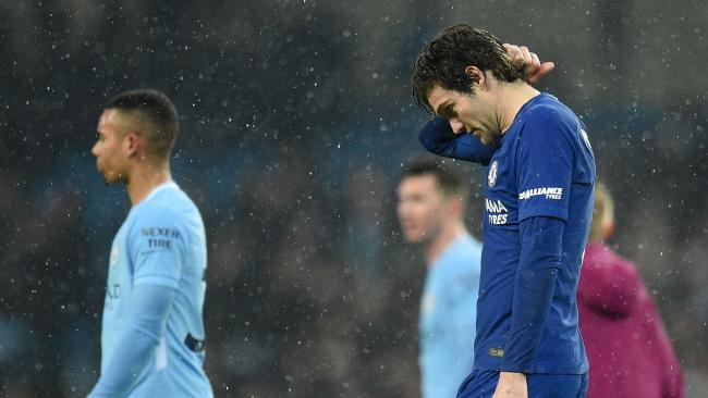 Chelsea's Spanish defender Marcos Alonso reacts