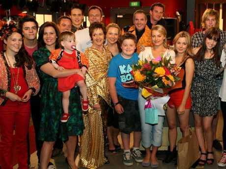 Margot Robbie and the cast of Neighbours at her farewell. Picture: Supplied