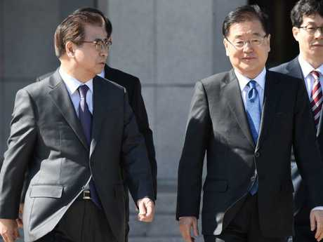 Chung Eui-yong, head of the presidential National Security Office, and Suh Hoon (left), chief of the South's National Intelligence Service. Picture: AFP/Jung Yeon-je