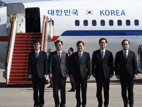 The South Korean delegation heading to Pyongyang for talks with Kim Jong-un. Picture: AFP/Jung Yeon-je