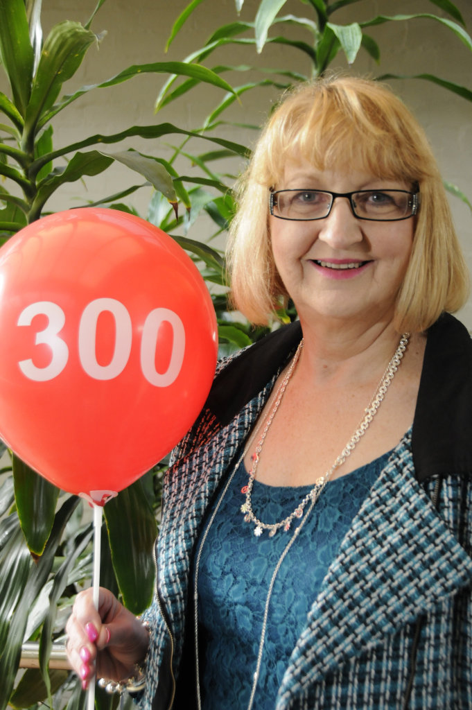 A photo from when Susanne Maurer had reached her 300th blood donation, but now she's got 400 under her belt.