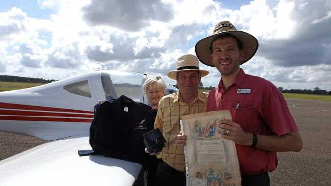HOPING TO TAKE FLIGHT: Discussing the development of the Maryborough Military Aviation Museum are (from left)  historians and members of the MMAM association Jenny Elliot and Greig Bolderrow with Fraser Coast Regional Councillor Paul Truscott at the Maryborough Airport.