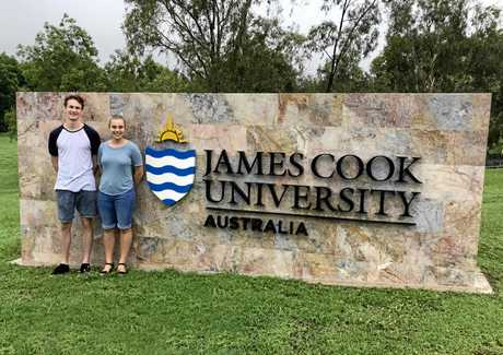 Former Heights College students Lize Nortje and Samuel Lawson settling into life at James Cook University