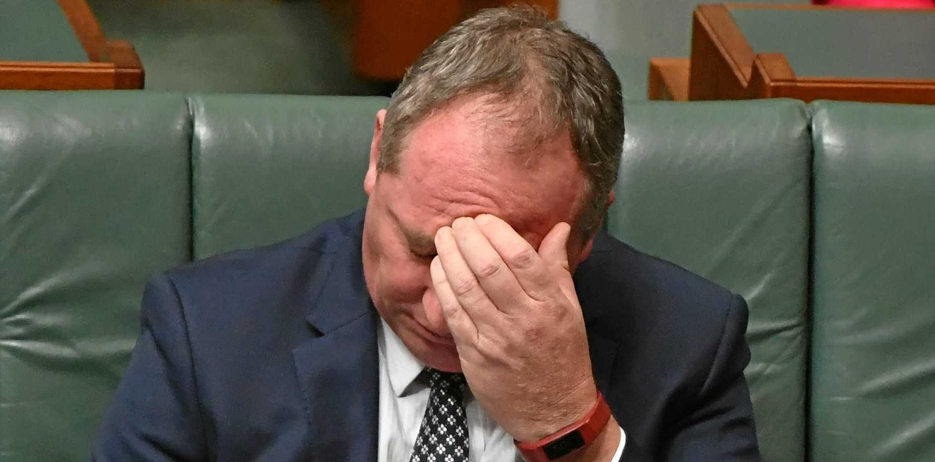 EMBATTLED: Former Deputy Prime Minister Barnaby Joyce during Question Time in the House of Representatives at Parliament House in Canberra in February.