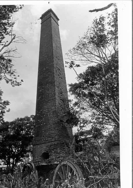 The brick chimney of the old Richmond Mill in 1979
