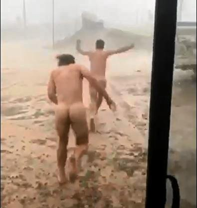 Calem and Jesse Fegan's video running nude in the rain at Julia Creek has been viewed over 350,000 times.