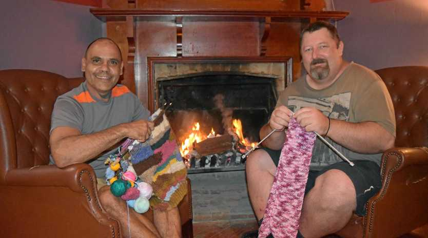 Samuel Robinson and Scott Thompson are ready for the men's knitting circle at the Criterion Hotel during Jumpers and Jazz.
