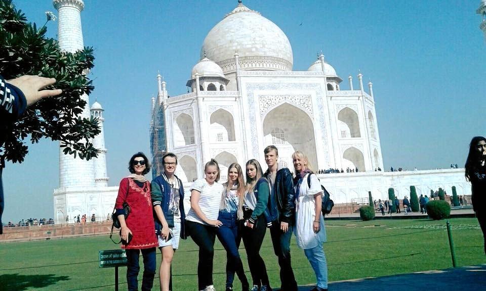JOURNEY INTO INDIA: Sampling Indian culture are: (from left) Jo Byrne, Jackson Waldron, Jasmine Webbe, Chelsea Edwards, Katelyn Dunne, Lawson Bull and Kerri Dunn at the Taj Mahal.