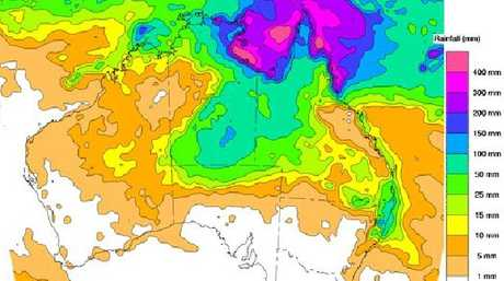 Rainfall due over next eight days shows far north Queensland getting a dumping. Picture: Bureau of Met