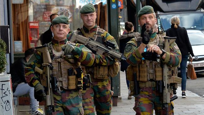 Belgium troops on patrol in central Brussels in the wake of the terrorist attacks last year. Picture: