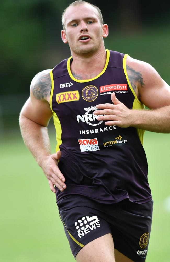 Matthew Lodge is seen during a Brisbane Broncos training last month. Picture: Darren England