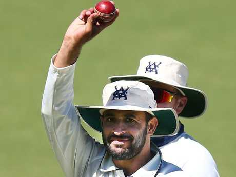 Fawad Ahmed salutes after his match-winning spell.