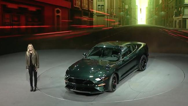 Molly McQueen unveils the 2018 Bullitt Mustang at the Detroit motor show in January. Picture: Supplied.