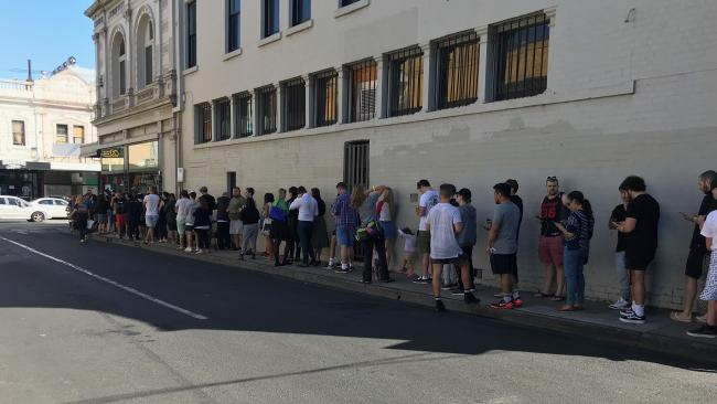 People line up for In-N-Out burger pop up in Windsor, Melbourne. Picture: Rohan Smith