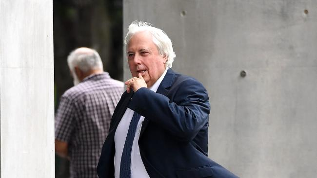 Clive Palmer arrives at the Supreme Court in Brisbane today. Picture: AAP/Dan Peled