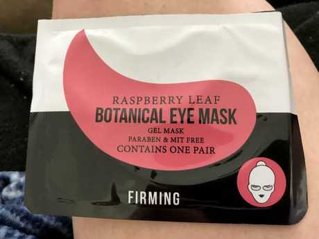 Ms Boulton is angry this Kmart eye mask is still on the shelves. Picture: Clare Boulton/Caters News