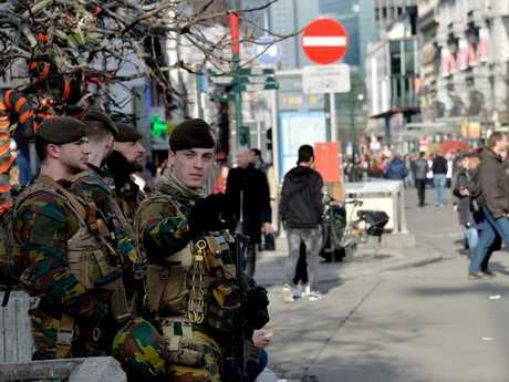 Belgium troops on patrol in central Brussels in the wake of the terrorist attacks last year. Picture David Dyson