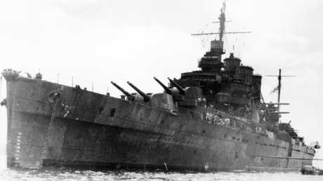 The heavy cruiser HMAS Australia at the time of the Battle of the Coral Sea. Picture: Royal Australian Navy